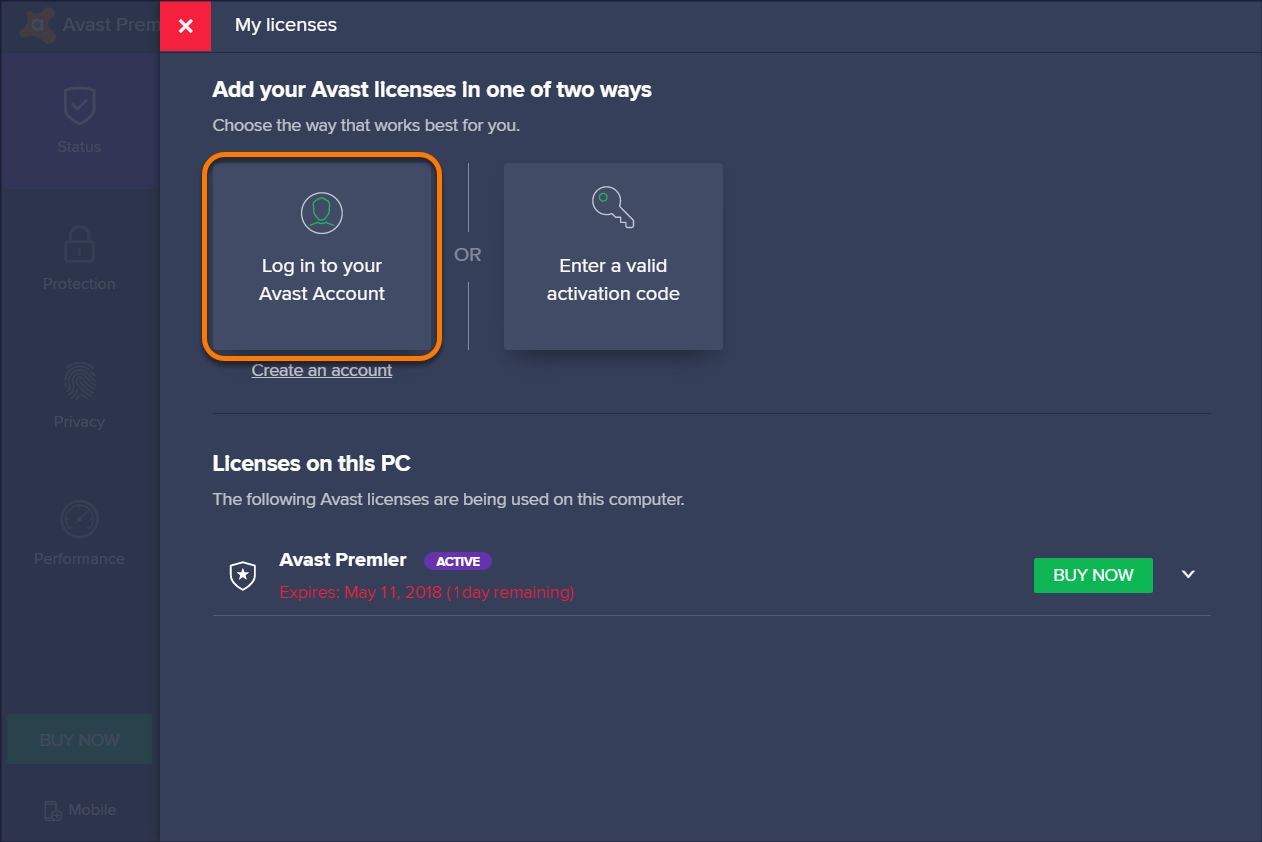 Activate Avast Premier via your Avast Account - Silver